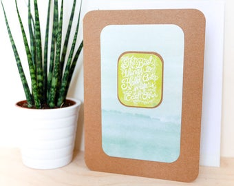 Hold onto Each Other A6 Card; blank inside, motto, motivation, brown kraft, boho, love, nature, mustard, watercolour, family, loss, sisters