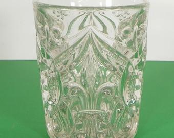 Antique Bryce Arched FLEUR DE LIS Pressed Glass Tumbler