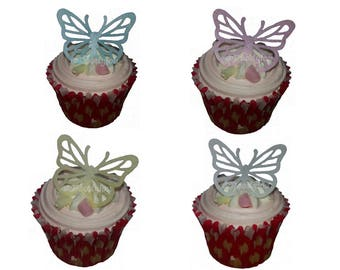 12 Large Edible Butterfly Cupcake Cake Topper Decorations Flavoured Wafer Paper Strawberry & Vanilla Precut