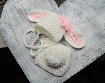 Crochet Bunny hat, Luv Beanies, Diaper Cover Set, Baby Bunny Hat, Bunny Beanie, Baby Hats, Hats for Babies, Easter Gift, Photo prop