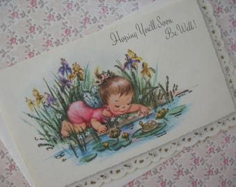 Vintage Greeting Card, Get Well Card, Original Envelope, Fairy Girl at Lily Pond with Turtles, Glittered, Scalloped Edge, Unused - 1950s