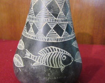 Black Pottery Vase with white etching- Fish motif