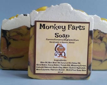 Monkey Farts, Kids Soap, Bar Soap, Great Gifts, Bananas, Unique, Artisan Soap, Handmade Soap, Melt & Pour Monkeys, Luxury Soap, Unisex Scent