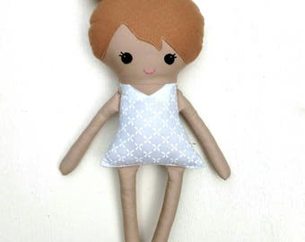 Dress up doll, fabric doll, rag doll, plush doll, dirty blonde hair base doll, soft dress up doll