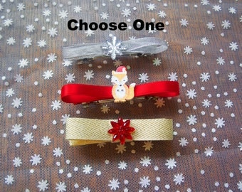 Holiday Bow with Buttons Barrette Set, Choose one on French Barrettes or Alligator Clips