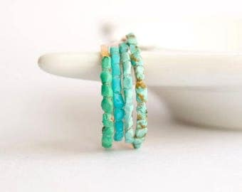 Tiny Turquoise Ring. Small Turquoise Ring. Genuine Turquoise Ring. Raw Turquoise Ring. Blue Turquoise Ring.