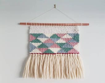 Small weaved wall hanging pastel merino wool / READY TO SHIP