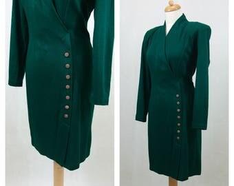 80s vintage dress. Green dress. Golden buttons dress. Shoulder pads dress. Long-sleeved dress. Size M.