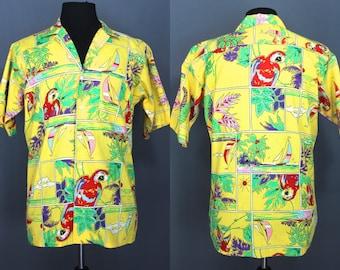 80's Hawaiian Shirt.......80's Yellow Yacht Rock Parrothead Colorful Hawaiian Shirt
