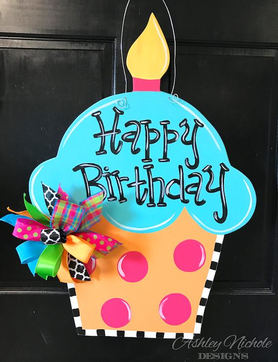 Birthday Cupcake Door Hanger Party Decor Wooden Cupcake