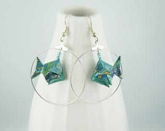 "Earrings ""fish in its Bowl"", origami paper"