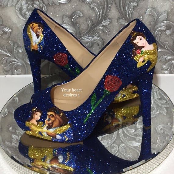 Beauty And The Beast Shoes Custom Wedding Prom Cosplay