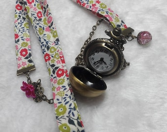 Green & pink liberty sphere Pocket Watch necklace