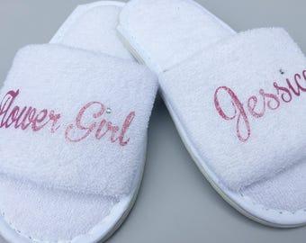 Flower girl , flower girl slippers, bridesmaid slippers, toddler slippers, personalised slippers, personalized slippers, custom slippers,