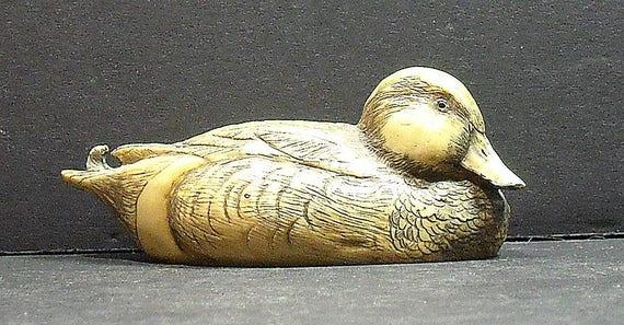 Vintage Artek Wigeon Duck Scrimshaw-like, Decoy  Style  Initials GdeL on rump