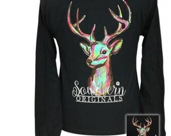 Watercolor Deer - Deer - Hunting Season - Adult Long Sleeve - Girlie Girl