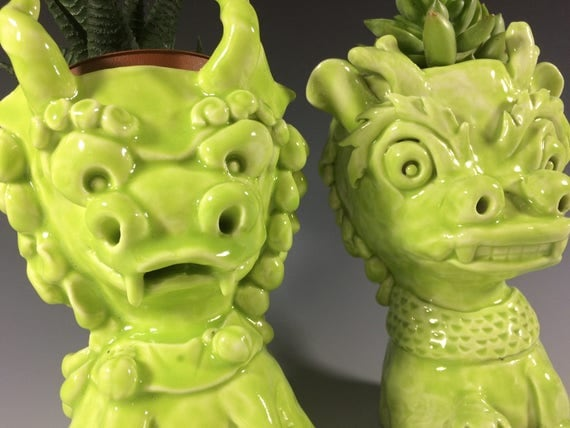 Yin and Yang Foo Dogs // Lime Green // Succulent Planter // Ceramic Pot // Home Decor // Chinese Decor // Guardian lion // Fu Dog // Pothead