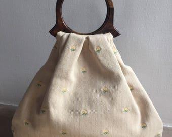 Wooden handle yellow bag vintage style, wedding purse,