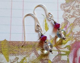Mystic Clear Quartz and Genuine Swarovski Crystal Earrings 925 Sterling Silver