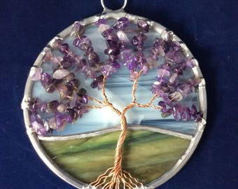 4 inch amethyst tree of life suncatcher
