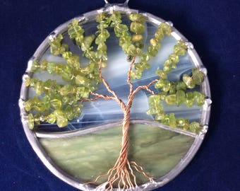 4 inch peridot tree of life suncatcher