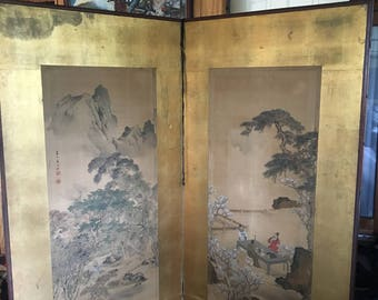 2 Chinese paintings on silk, 6ft tall