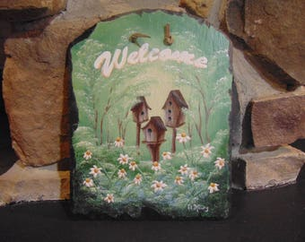 Slate hand painted birdhouse welcome sign