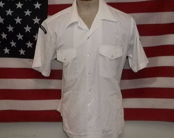 USN Navy service shirt USS Carl Vinson aircraft carrier sailor cotton poly size large laundered neat presentable