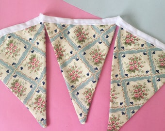 Pastel Blue Floral Vintage Fabric Bunting, Girls Bedroom, Decoration