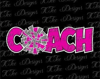 Cheer Coach - Pom Pom - SVG Design Download - Vector Cut File