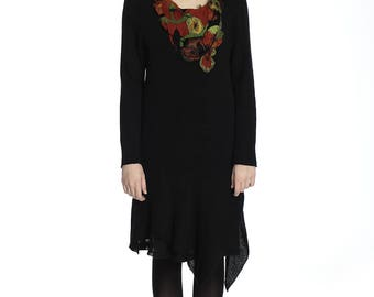 Amazing black cotton dress with beautiful felted decoration, M/L size.