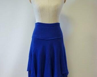 Boho one-of-a-kind  handmade asymmetrical cobalt linen skirt, M size.