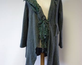 Boho artsy forest green asymmetrical cardigan, XXL size.