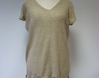 Special price. Transparent taupe knitted blouse, L size. Made of pure linen.