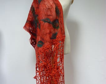 The hot price. Handmade red artsy shawl. Perfect for gift.