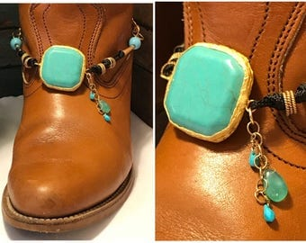 Boot jewelry , boot chain, boot bracelet, boot bling, boot wrap. Nice size turquoise! Single One (1)