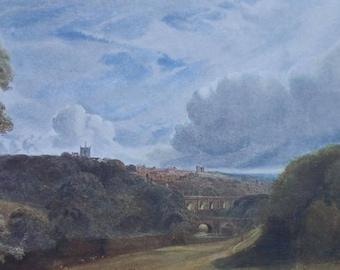 Antique Print 1904 - View of Knaresborough North Yorkshire - Bridges - Castle - Bernard Evans -Matted -Ready to Frame