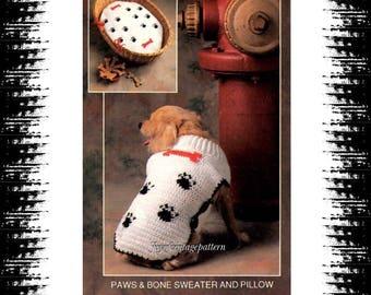 Retro dog Paw & Bone Sweater Crochet pattern in PDF instant download version