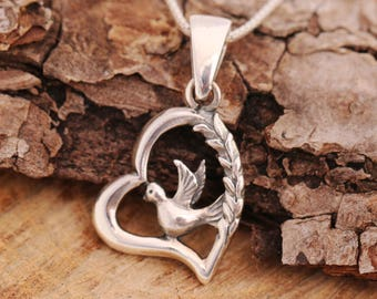 Sterling Silver Dove Necklace, Silver Heart Necklace, Dove Necklace, Dove and Wheat Necklace, Teachers Gift, Gift for Teachers, Gift for Her