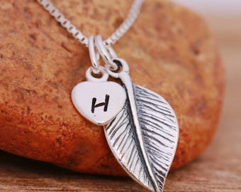 Sterling Silver Leaf Necklace, Sterling Silver Tree Leaf Necklace, Initial Necklace, Sterling Silver Heart Necklace, Gift for Her