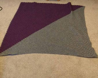Corner to corner throw blanket sparkly silver and purple