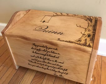 Hope chest, toy chest, keepsake box, tree, wood burned, custom, personalized