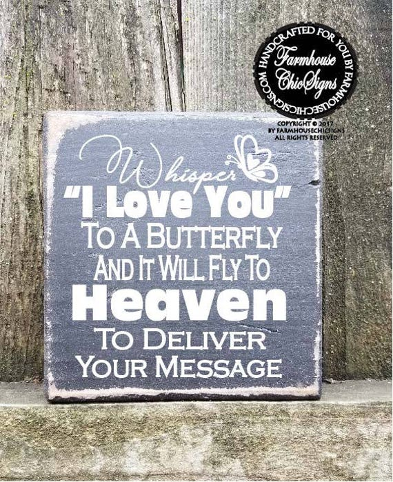 Whisper I Love You To A Butterfly Shelf Sitter Sign