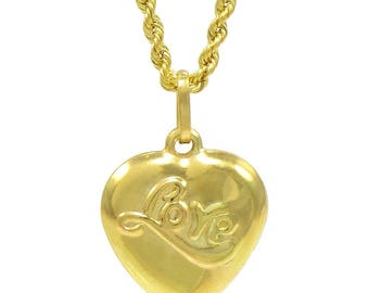 "14K Yellow Gold ""Love"" Heart Pendant Necklace"