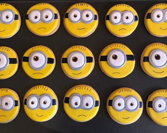12 MiNIONS head or 18 small inspired- DESPICABLE ME -vanilla sugar cookies