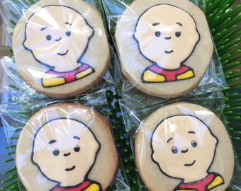 12 CAILLOU boy kid inspired cookies - birthday party - boy or girl - schhol - pre k -