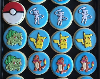 POKEMON cookies GO ball (x12) cookies or 18 small balls videogame inspired vanilla sugar cookies -cards-game - Pikachu- balbasaur-squirtle-c