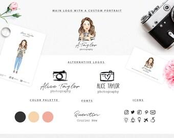 Branding Kit With A Custom Portrait/ Premade Branding Package/Photography Logo, Business Card/ Watercolor Portrait /Marketing & Branding Set