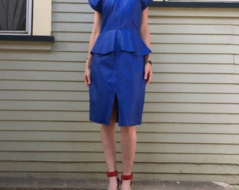 vintage 80s covalt blue peplum leather cap sleeve dress size small medium womens