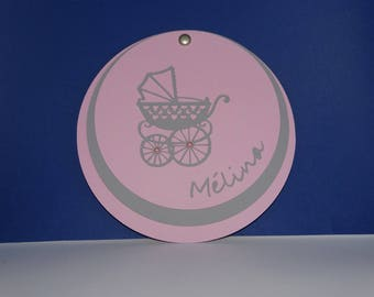 Circle baby carriage birth announcement